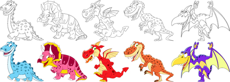 Cartoon animal set. Collection of dinosaurs in jurassic period. Diplodocus, triceratops, dragon, tyrannosaurus (t rex), pterodactyl. Coloring book pages for kids.
