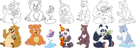 Cartoon animal set. Childish collection of bears and pandas with different emotions. Coloring book pages for kids.