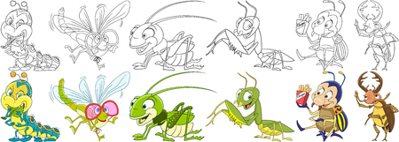 jump for joy: Cartoon animal set. Childish collection of garden insects and pests. Caterpillar, dragonfly, grasshopper, mantis, colorado potato beetle, stag bug. Coloring book pages for kids.