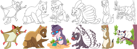 jump for joy: Cartoon animal set. Childish collection of fluffy rodents. Squirrel, marten, ferret, polecat, mole, porcupine, weasel, otter, opossum. Coloring book pages for kids.