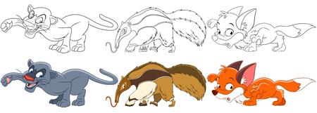 만화 동물 세트입니다. 야생의 포식자의 컬렉션입니다. 표범 (푸마, 쿠거), 개미, 여우. 아이들을위한 색칠하기 책 페이지. 일러스트