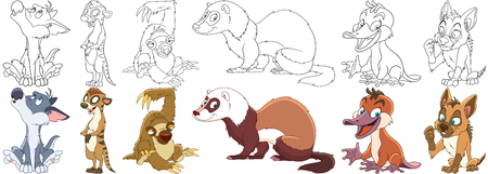 Cartoon animal set. Collection of wild predators. Howling wolf (coyote), suricate, sloth, ferret (polecat, weasel, marten), platypus (duckbill), hyena (jackal). Coloring book pages for kids.