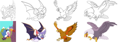 Cartoon animal set. Collection of predator birds. Vulture, halloween bat, hawk, eagle, condor, falcon. Coloring book pages for kids.
