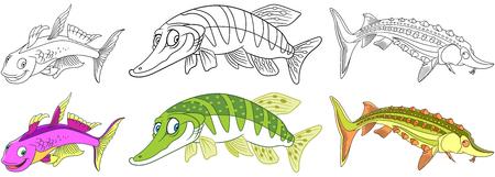 Cartoon underwater animals set. Furcata rainbowfish, pike fish, sturgeon. Coloring book pages for kids.