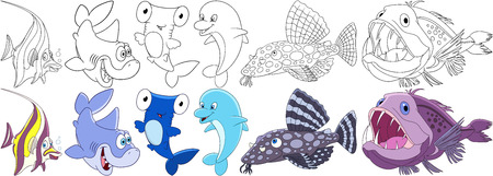 Cartoon underwater animals set. Moorish idol, shark, hammer-head, dolphin, catfish, angler fish. Coloring book pages for kids. Çizim