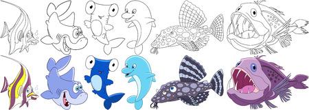 Cartoon underwater animals set. Moorish idol, shark, hammer-head, dolphin, catfish, angler fish. Coloring book pages for kids. Vectores