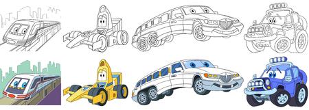 漫画トランスポート ・ セット。車のコレクション。郊外電車、高速のレース車、白いリムジン (リムジン)、オフロード ジープ。子供のための書籍