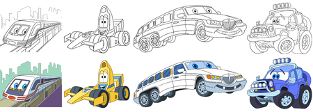 Cartoon transport set. Collection of vehicles. Suburban electric train, high speed racing car, white limousine (limo), off-road jeep. Coloring book pages for kids.