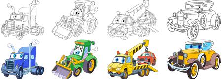 Cartoon transportset. Verzameling van voertuigen. Zware semi-vrachtwagen (aanhangwagen, vrachtwagen), tractor (bulldozer), takelwagen (evacuator), luxe retro oude auto. Kleurboekpagina's voor kinderen.