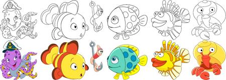 Cartoon onderwater dieren ingesteld. Octopus met anker in een kapiteinhoed, clownvis, worm op een vishaak, leeuwvis, kluizenaarskreeft met een schelp. Kleurboekbladen voor kinderen. Stock Illustratie