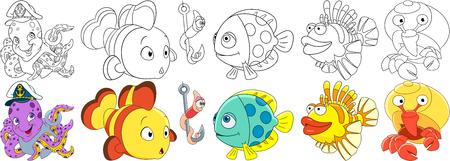Cartoon underwater animals set. Octopus with anchor in a captain hat, clown fish, worm on a fishing hook, lionfish, hermit crab with a shell. Coloring book pages for kids.