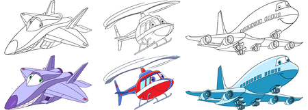 Cartoon flying transport set. Collection of aircrafts. Supersonic f22 raptor airplane, helicopter, passenger airliner. Coloring book pages for kids.