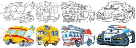 만화 전송 집합입니다. 차량 컬렉션입니다. 구급차, 스쿨 버스, 소방차, 경찰차. 아이들을위한 색칠하기 책 페이지.