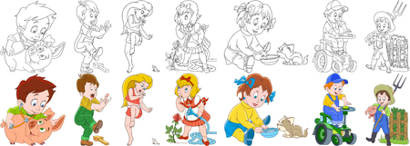 Cartoon people set. Farm collection. Veterinarian doctor, boy hitting a finger, woman and mouse, girl and rose flower, child feeding a cat, boy driving a tractor, farmer. Coloring book pages for kids.