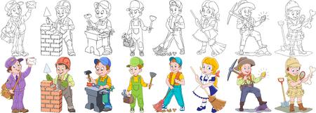 Persone di lavoro del fumetto impostato. Raccolta di professioni. Mail uomo (postino), costruttore, fabbro, idraulico, pulitore, spazzino, minatore d'oro, esploratore archeologico. Pagine di libri di colorazione per i bambini.