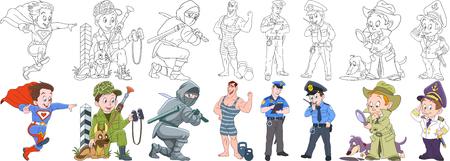 Cartoon working people set. Inzameling van beroepen. Superman, militair soldaat met wachthond, ninja, atleet (bodybuilder), politieagent (politieagent), detective, zeeman. Kleurboekbladen voor kinderen.