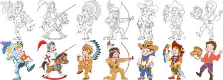 Cartoon people set. Illustration