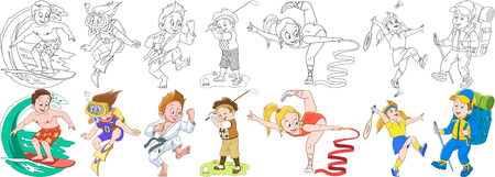 Cartoon children set. Illustration