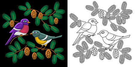 chickadee: Embroidery birds design. Collection of fancywork elements for patches and stickers. Coloring book page with two sparrows, fir tree branches and pine cones.