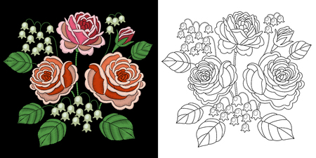 Embroidery floral bouquet design. Collection of fancywork elements for patches and stickers. Coloring book page with rose and bluebell flowers. Illustration
