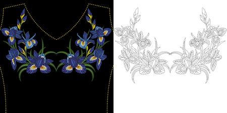 刺繍ネック デザイン。ドレス、シャツやブラウスの花要素のコレクション。対称のアイリスの花の花束を本ページを着色します。