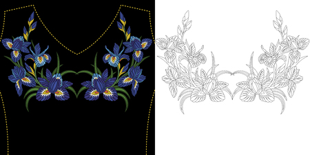 Embroidery neckline design. Collection of floral elements for dresses, shirts and blouses. Coloring book page with symmetric iris flowers bouquets.