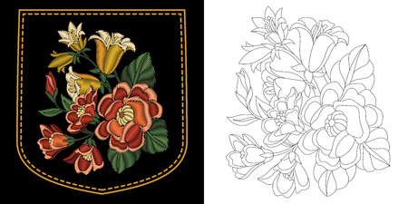 Embroidery design of shirt pocket. Collection of floral elements for patches and stickers. Coloring book page with roses and blue bell flowers bouquet.