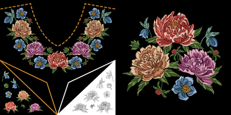 Embroidery neckline design. Collection of floral elements for dresses, shirts and blouses. Coloring outline drawing of chinese peony and forget me not flowers. Иллюстрация