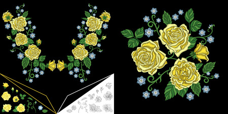 Embroidery neckline design. Collection of floral elements for dresses, collar t-shirts and blouses. Coloring outline drawing of roses and daisy flowers.