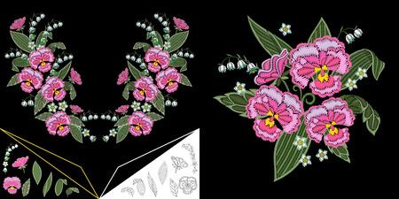 Design scollatura ricamo. Collezione di elementi floreali per abiti, t-shirt e camicette colletto. Disegno a tratteggio di mughetto e fiori viola del pensiero.