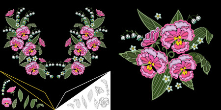 Embroidery neckline design. Collection of floral elements for dresses, collar t-shirts and blouses. Coloring outline drawing of lily of the valley and pansy flowers.