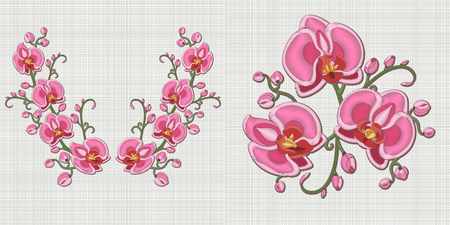 Embroidery design. Collection of symmetric elements for neckline of dress, collar t-shirt or blouse. Set of floral fashion ornaments for patches and stickers. Outline hand drawn pink orchid flowers.