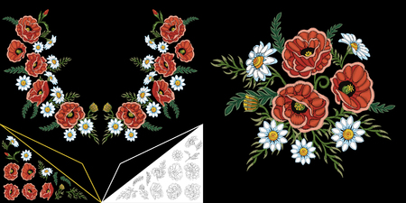 Embroidery neckline design. Collection of floral elements for dresses, collar t-shirts and blouses. Coloring outline drawing of chamomile, daisy and poppy flowers.