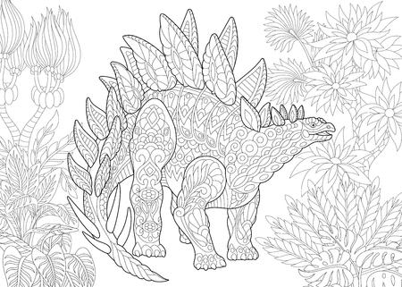 Stilisierter Stegosaurus-Dinosaurier der Jurazeit und der frühen Kreidezeit. Freehand-Skizze für Erwachsene Anti-Stress-Malbuch Seite mit Doodle und Zentangle Elemente. Vektorgrafik