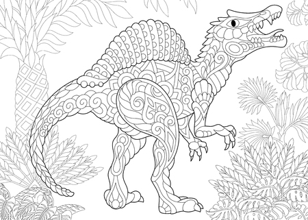 Stylized spinosaurus dinosaur of the middle Cretaceous period. Freehand sketch for adult anti stress coloring book page with doodle and zentangle elements.