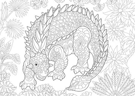 Stilisierter Ankylosaurus-Dinosaurier der Kreidezeit. Freehand Skizze für erwachsene Anti Stress Färbung Buch Seite mit Doodle und Zentangle Elemente. Vektorgrafik