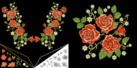 Embroidery design. Embroidered collection for fabric patterns, textile prints, patches, stickers. Floral neckline elements for dress, collar t-shirt or blouse. Set of red roses and daisy flowers.