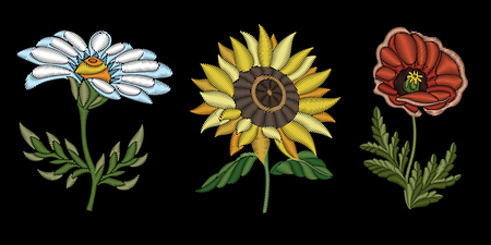 Embroidery design. Collection of floral elements for fabric and textile prints, patches, stickers. Set of beautiful embroidered fashion ornaments of white daisy, yellow sunflower and red poppy flower.