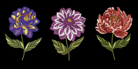 Embroidery design. Collection of floral elements for fabric and textile prints, patches, stickers. Set of beautiful embroidered fashion ornaments of chinese peony, dahlia and chrysanthemum flowers.