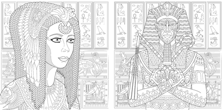 Ancient pharaoh Tutankhamen, queen Cleopatra (Nefertiti), Egyptian symbols (hieroglyphs) on the background. Set collection for adult anti stress coloring book page with doodle elements.