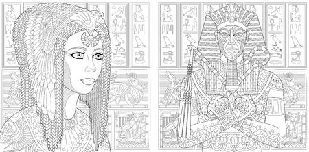 Oude farao Tutankhamen, koningin Cleopatra (Nefertiti), Egyptische symbolen (hieroglyfen) op de achtergrond. Set collectie voor volwassen anti stress kleur boek pagina met doodle elementen.