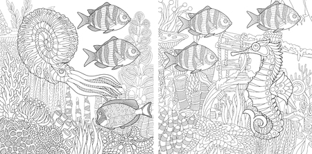 polyps: Stylized composition of tropical fish, calamari (squid), seahorse, underwater seaweed, corals and starfish. Set collection for adult anti stress coloring book page with doodle and zentangle elements.