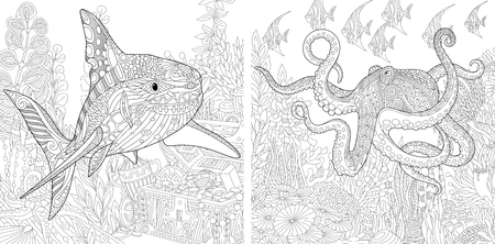 opened eye: Stylized composition of underwater shark, octopus (poulpe), tropical fish, seaweed, treasure chest with gold. Set collection for adult anti stress coloring book page with doodle and zentangle elements Illustration