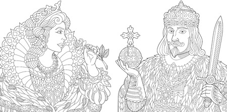 Stylized king (prince) with scepter and sword, young queen (princess) holding a rose. Freehand sketch for adult anti stress coloring book page with doodle and zentangle elements. Illustration