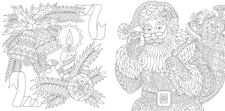 Santa Claus and New Year decorations. Christmas ball, jingle bells, candle, candy stick, ribbons, holly berry, fir branch. Adult anti stress coloring book page with zentangle elements. Illustration