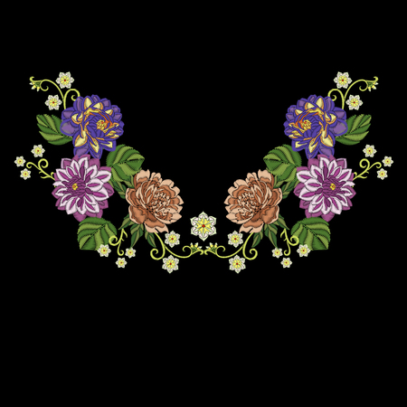 Embroidery design. Embroidered collection of dahlia, peony and chrysanthemum flowers for fabric pattern, textile print, patch or sticker. Symmetric floral elements for dress neckline, t-shirt, blouse.