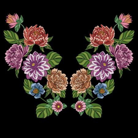 Stickentwurf. Gestickte Sammlung von Dahlie, Pfingstrose und Chrysantheme Blumen für Stoffmuster, Textildruck, Patch oder Sticker. Symmetrische florale Elemente für Kleidausschnitt, T-Shirt, Bluse. Illustration