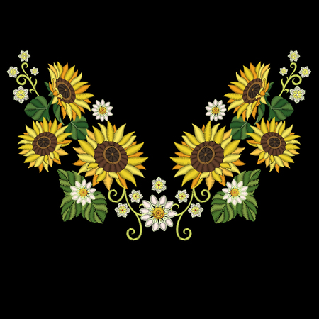 Embroidery design. Embroidered collection of sunflowers and daisy flowers for fabric pattern, textile print, patch or sticker. Symmetric floral elements for dress neckline, collar t-shirt or blouse.