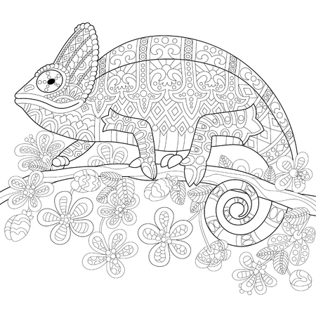 Coloring book page of chameleon lizard and stylized tropical flowers. Freehand sketch drawing for adult antistress colouring with doodle and zentangle elements.