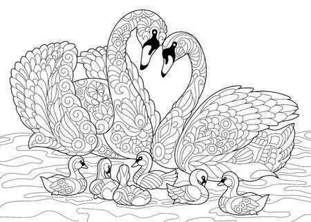 Kleurboek pagina van zwanenvogels familie. Freehand schetstekening voor volwassen antistress kleuren met doodle en zentangle elementen.